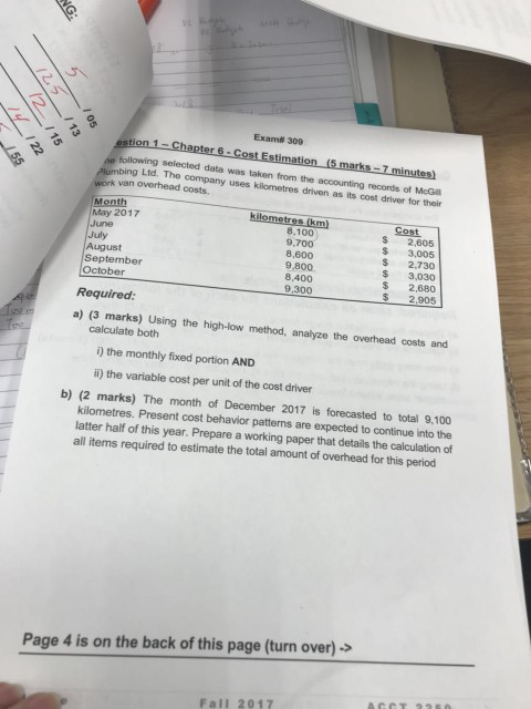 Solved: Exam# 309 Stion 1-Chapter 6 Cost Estimation (5 Mar