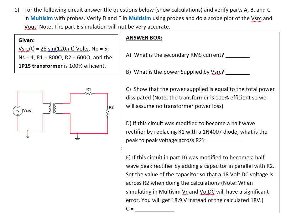 solved for the following circuit answer the questions bel rh chegg com