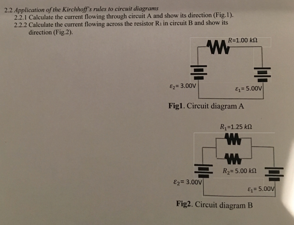 Solved Application Of The Kirchhoffs Rules To Circuit Di Diagram 22 Diagrams 221 Calculate Current Flowing