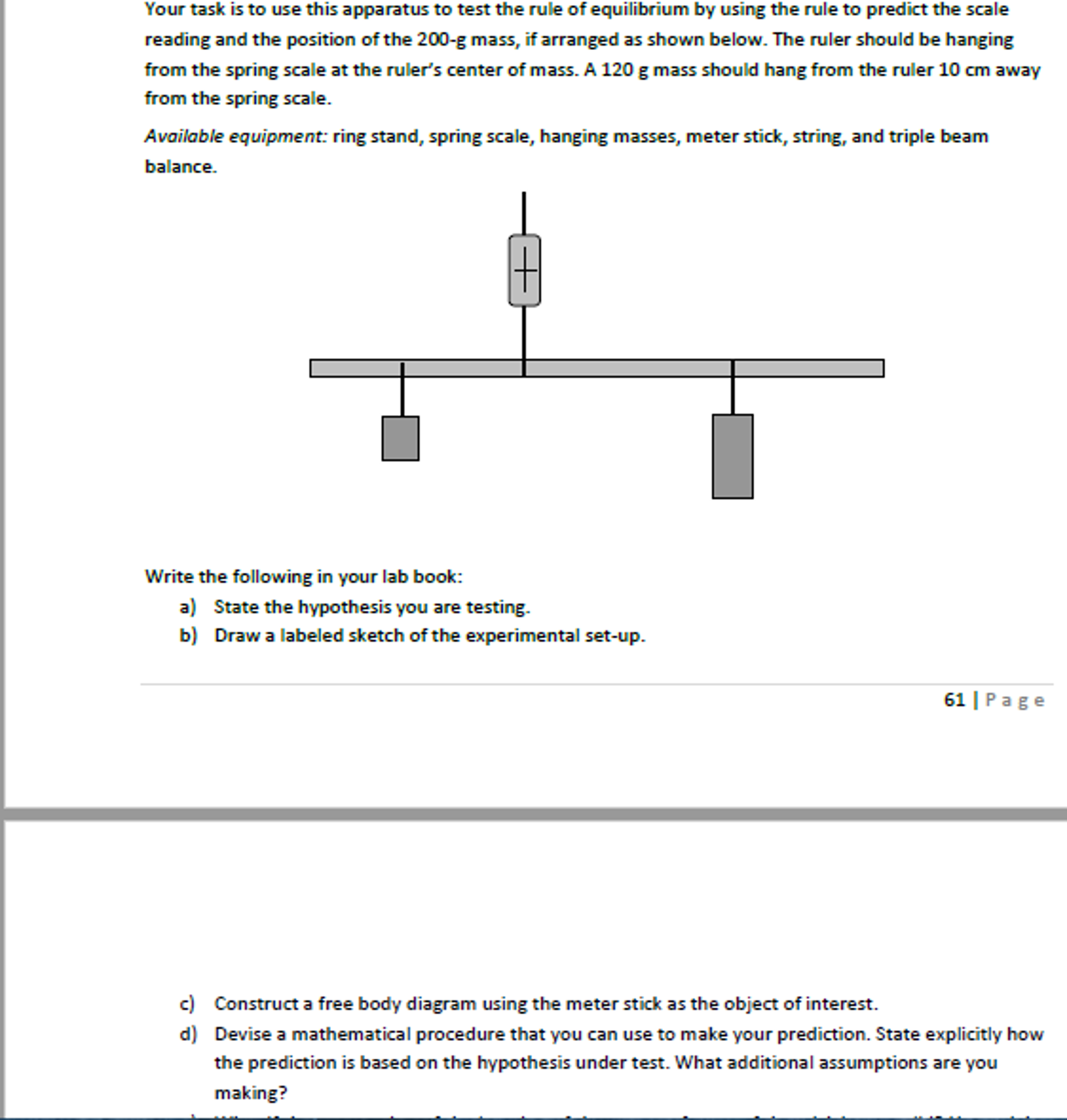 spring in a diagram of geography solved your task is to use this apparatus to test the rul