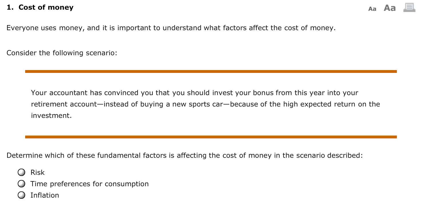 factors that affect the cost of money