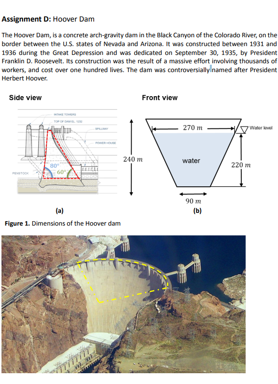 Solved Hoover Dam The Hoover Dam Is A Concrete Arch Grav