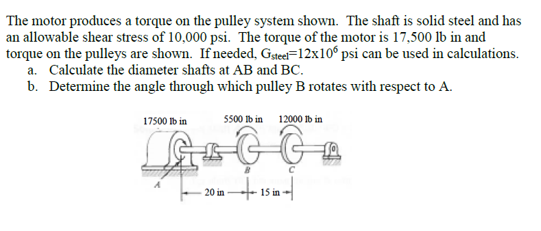 Solved: The Motor Produces A Torque On The Pulley System S