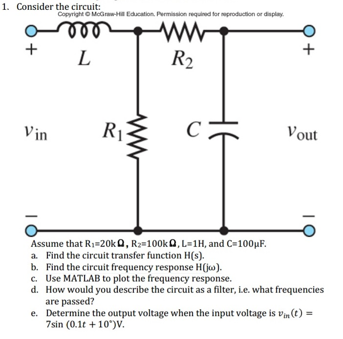 Solved: . Consider The Circuit: Assume That R1=20kΩ, R2=10 ...