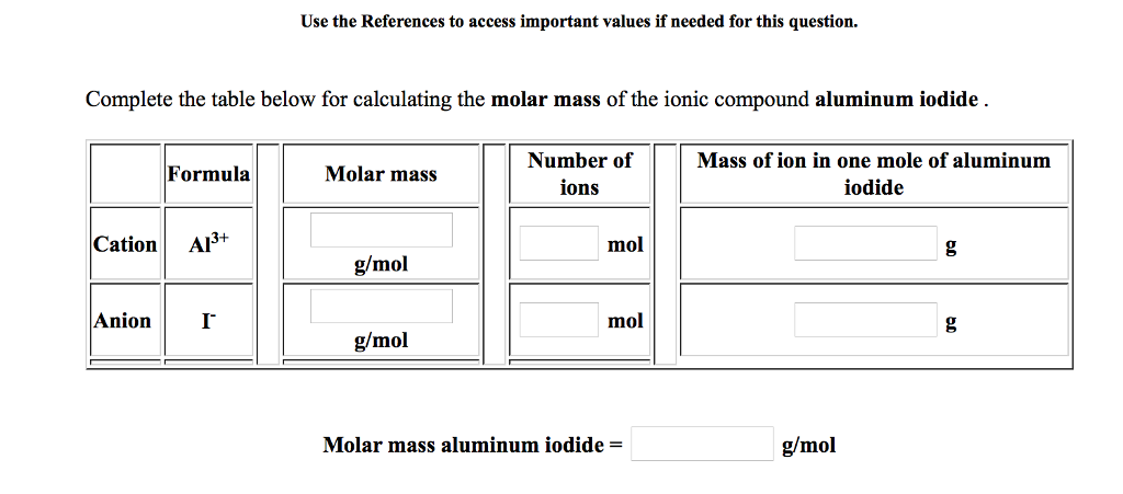 Solved Complete The Table Below For Calculating The Molar
