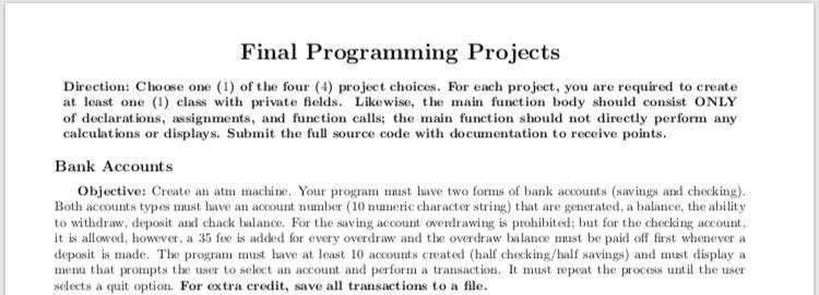 Solved: C++ Program Creating An ATM Machine C++ Language