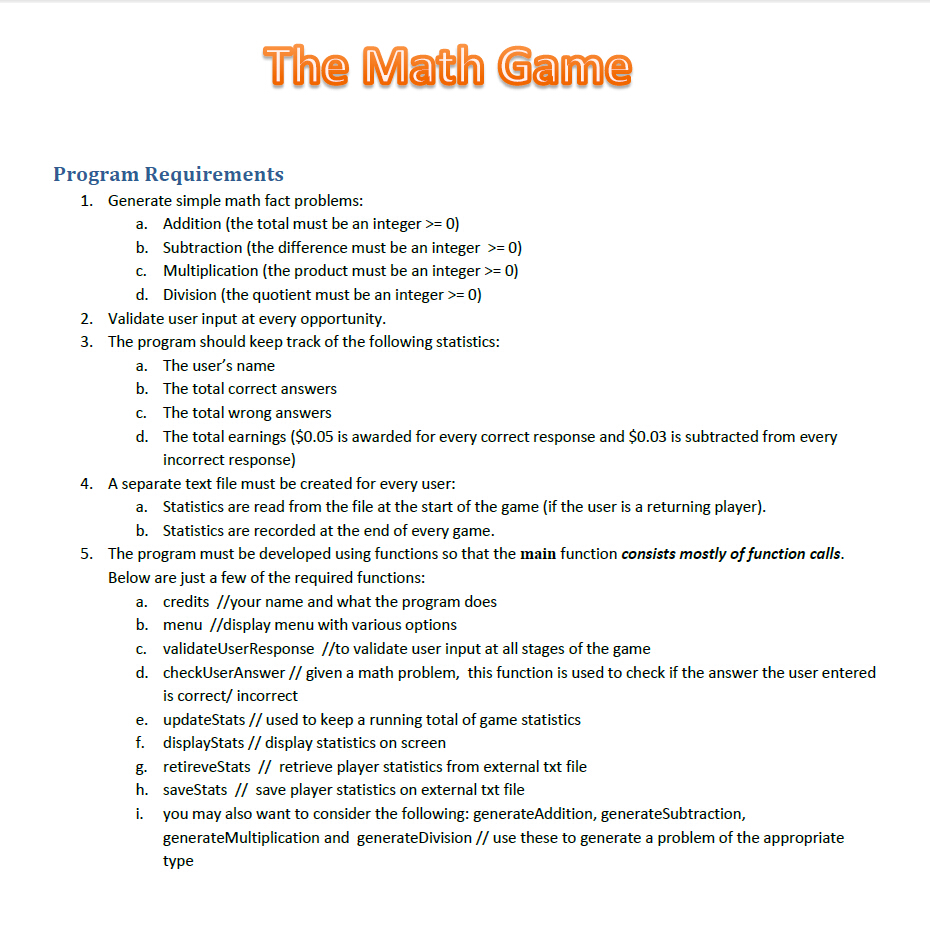 Solved: The Math Game Program Requirements Generate Simple ...