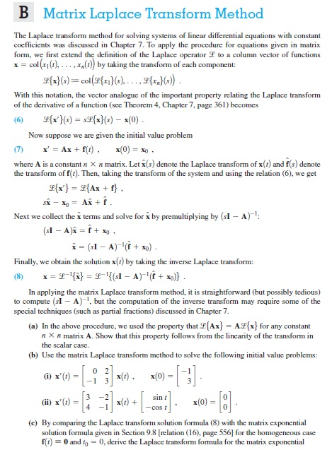 Solved: The Laplace Transform Method For Solving Systems O