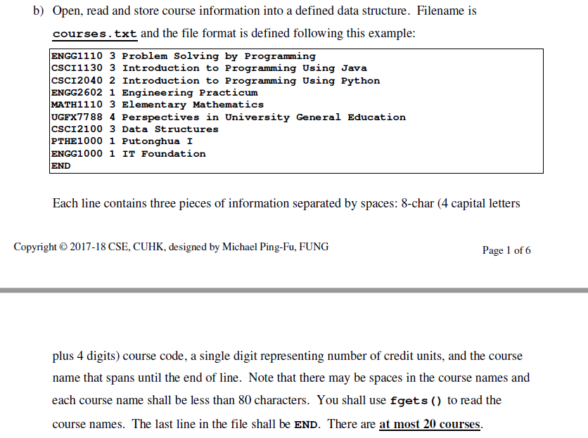 Solved C Program For Courses Registration Coursestxt Eng