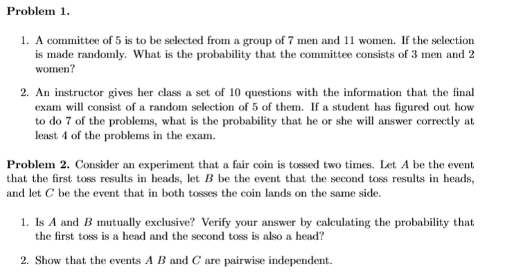 Solved: Problem1   A Committee Of 5 Is To Be Selected From