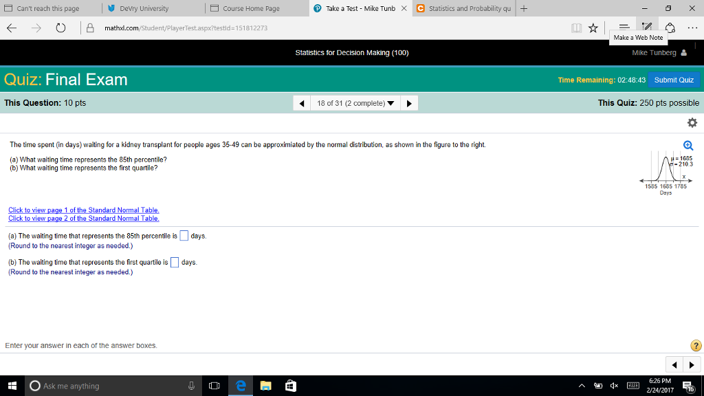 Statistics and probability archive february 24 2017 chegg e cant reach this page take a test mike tunb x c statistics and probability qu fandeluxe Gallery