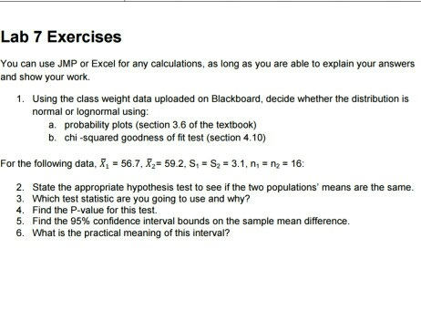 Solved: Lab 7 Exercises You Can Use JMP Or Excel For Any C