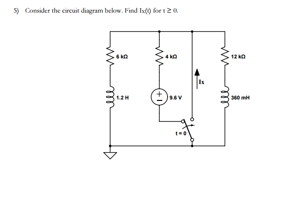 solved 5) consider the circuit diagram below find ix(t Parallel Circuit Diagram image for 5) consider the circuit diagram below find ix(t) (