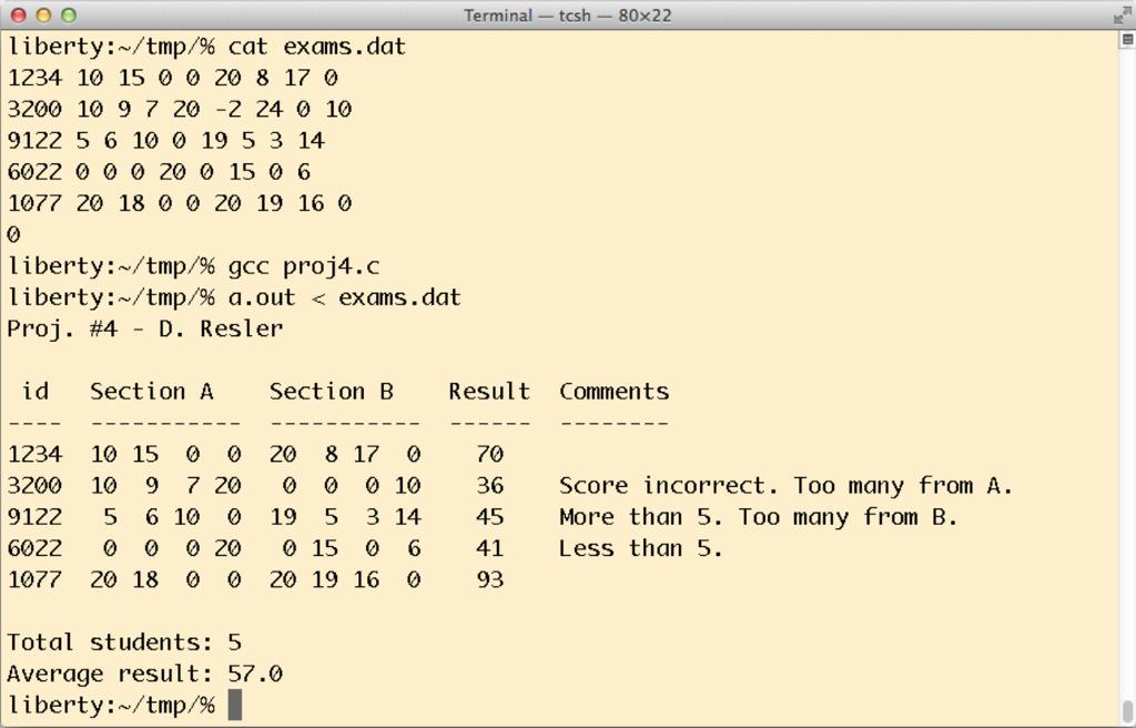Terminal tcsh 80x22 liberty N/tmp/96 cat exams. dat 1234 10 15