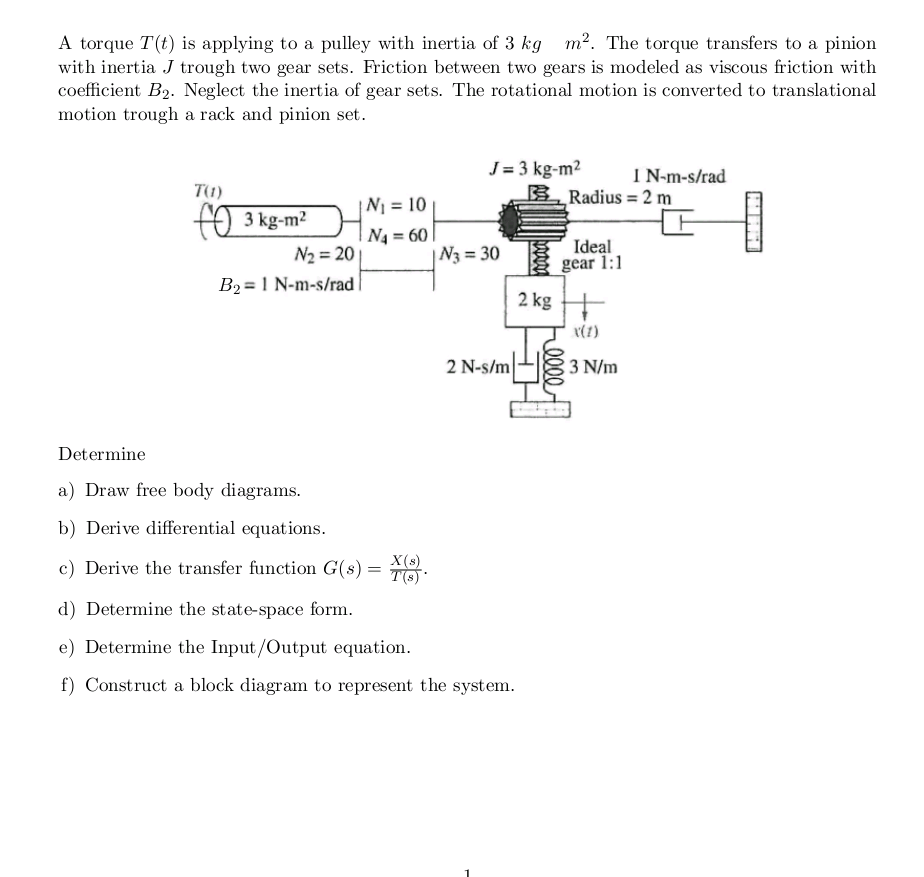 Dynamic System Block Diagram Please Help With As Equations Many Parts You Possibly Understand Main One For Me Is To Try Get It A And Draw The