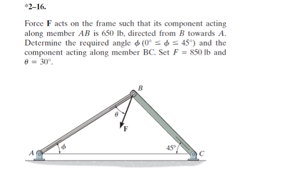 Solved: 2-16. Force Facts On The Frame Such That Its Compo ...