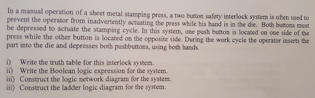 Solved: In A Manual Operation Of A Sheet Metal Stamping Pr
