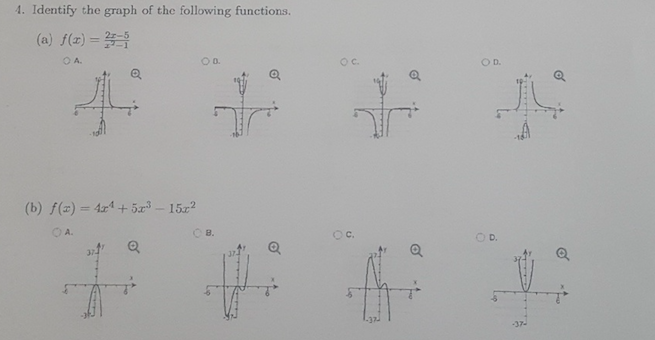 solved 4 identify the graph of the following functions