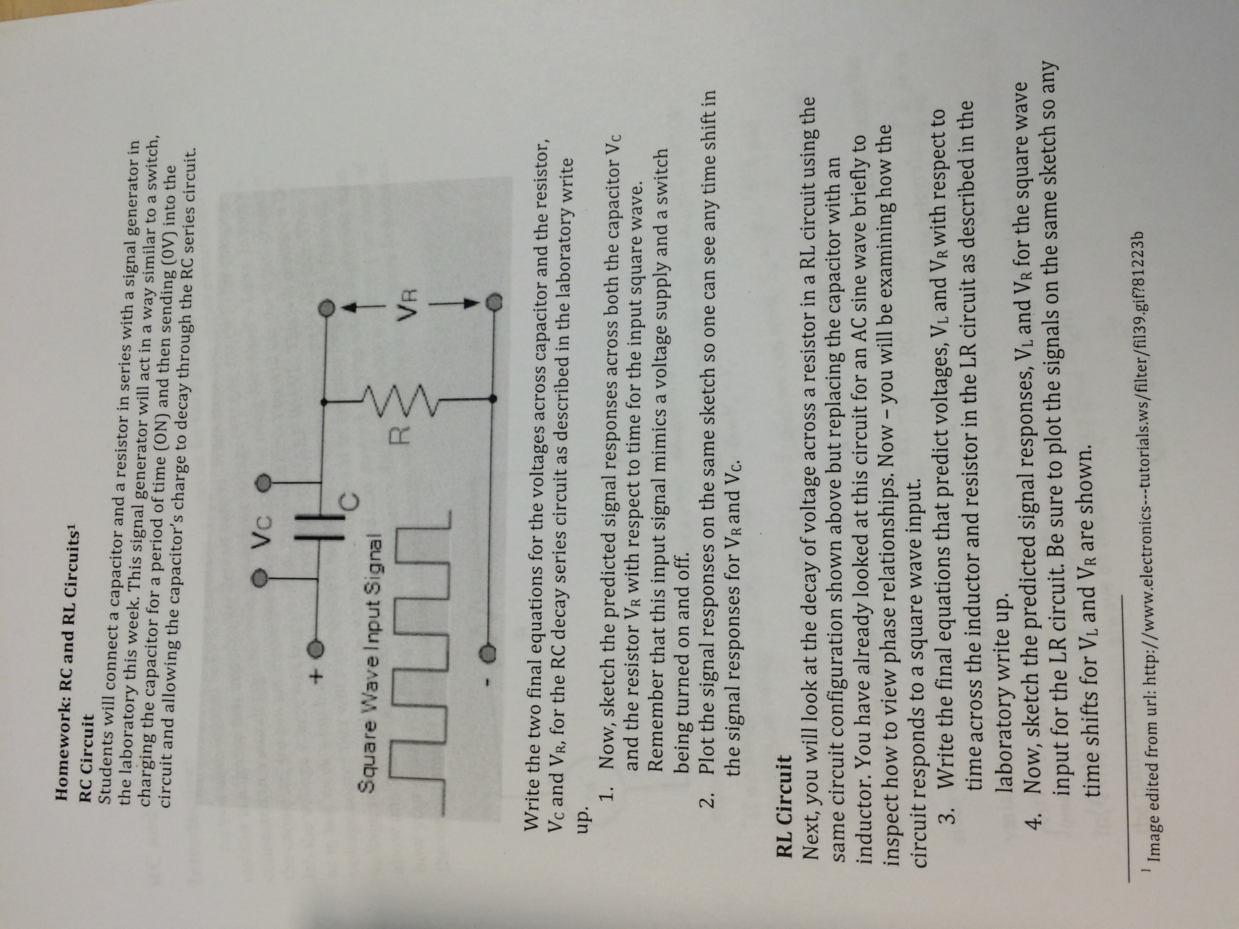 Solved Now Sketch The Predicted Signal Responses Across Lr Series Circuit Electronics