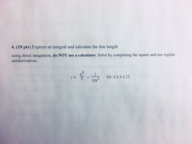 Solved: 4. (10 Pts) Express As Integral And Calculate The ...