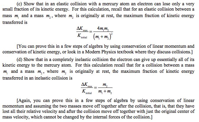 Solved C Show That In An Elastic Collision With A Mercu