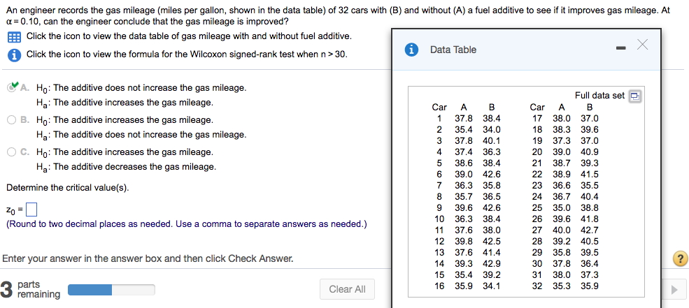 solved an engineer records the gas mileage miles per gal