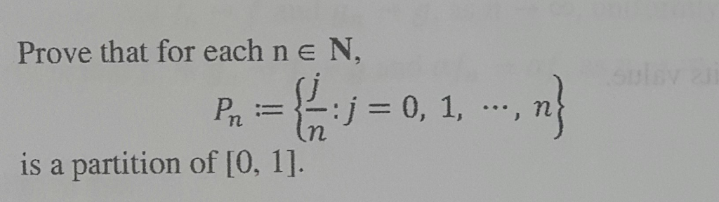 Prove that for each n e N, is a partition of 10, 1] 0, 1,
