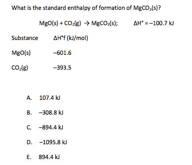 solved: what is the standard enthalpy of formation of mgco