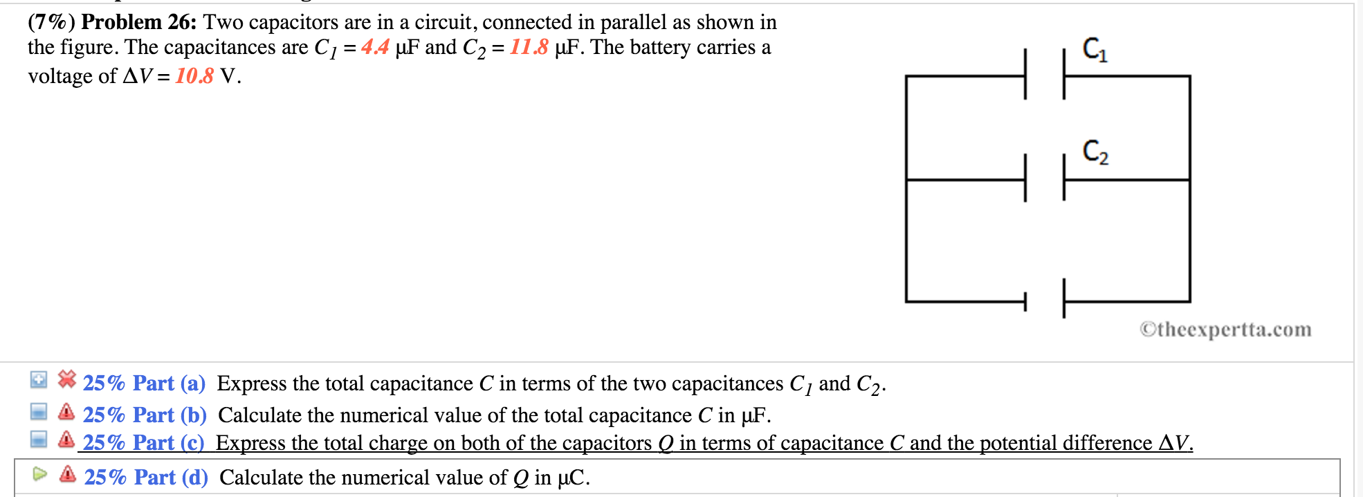 Solved Two Capacitors Are In A Circuit Connected Para Circuits With Question Parallel As Shown The Figure Capacitances