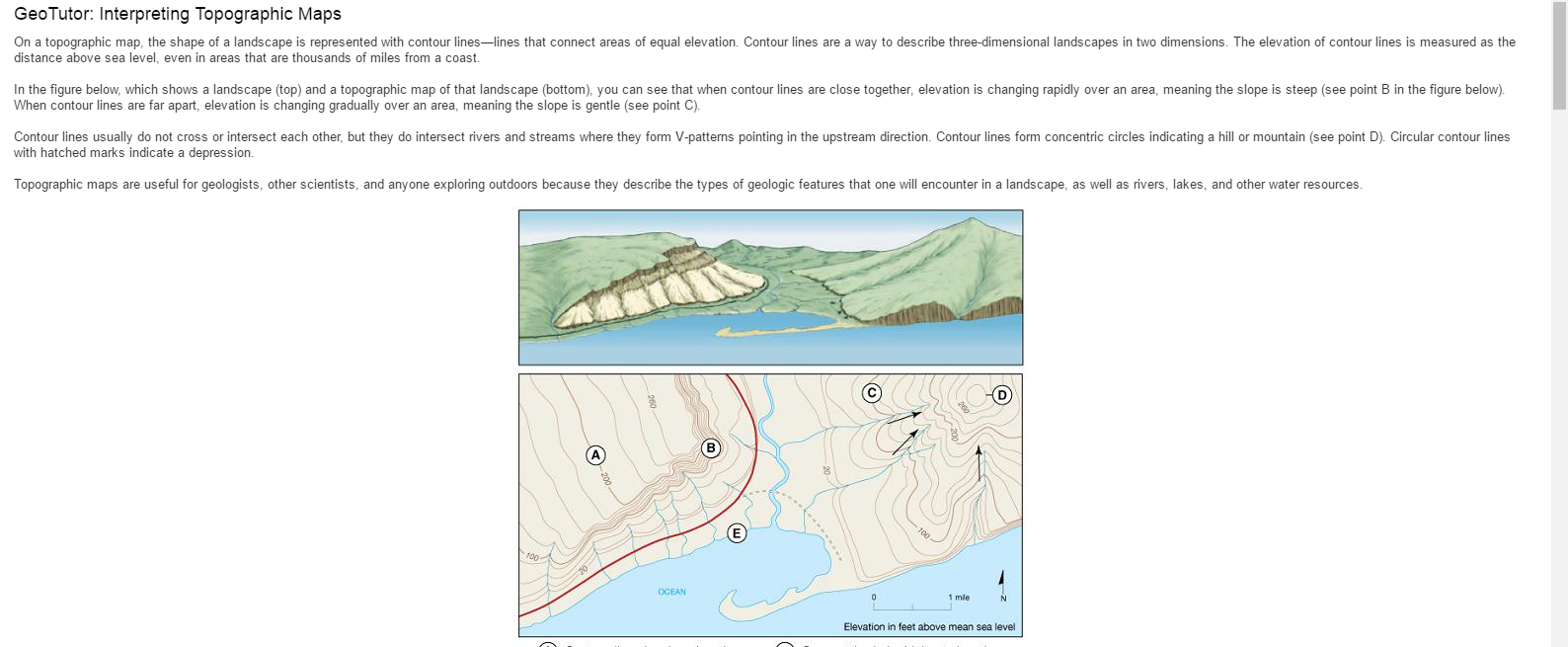 Topographic Map Of A Mountain.Solved Geotutor Interpreting Topographic Maps On A Topog
