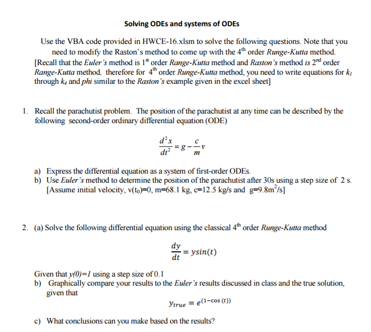Solved: Solving Order Ordinary Differential Equations (ODE