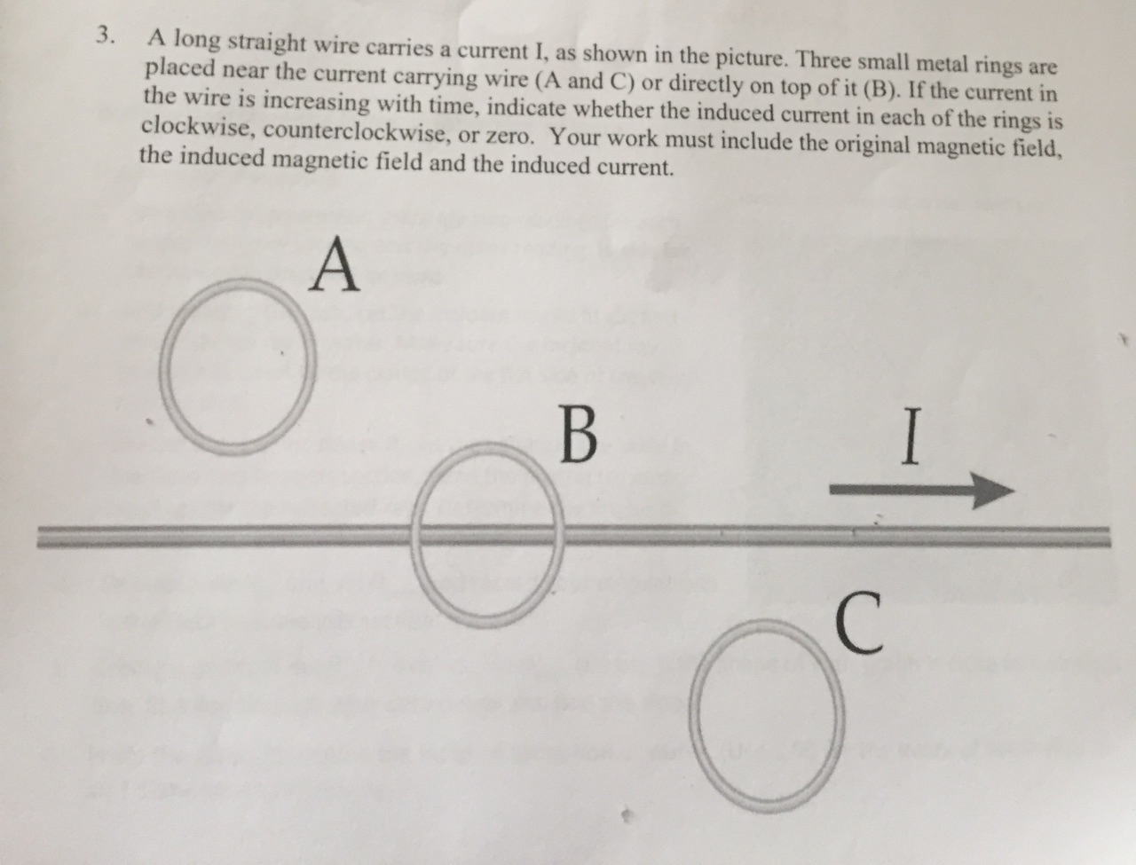 Solved: A Long Straight Wire Carries A Current 1, As Shown ...