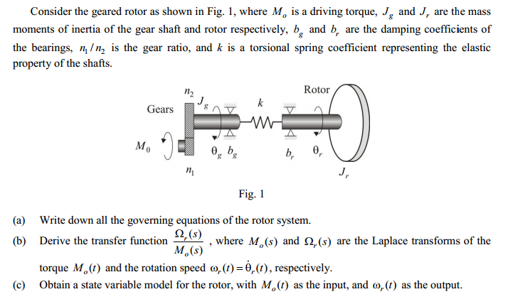 Question: Consider the geared rotor as shown in Fig. I, where Mo is a driving torque, Jg and Jr are the mas.