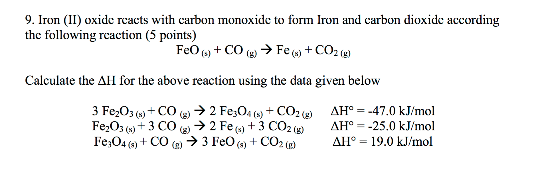Chemistry archive april 13 2016 chegg iron ii oxide reacts with carbon monoxide to for buycottarizona