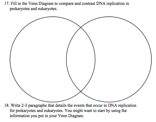 Prokaryotic Vs Eukaryotic Venn Diagram.Solved 17 Fill In The Venn Diagram To Compare And Contra