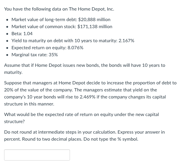Solved You Have The Following Data On The Home Depot Inc