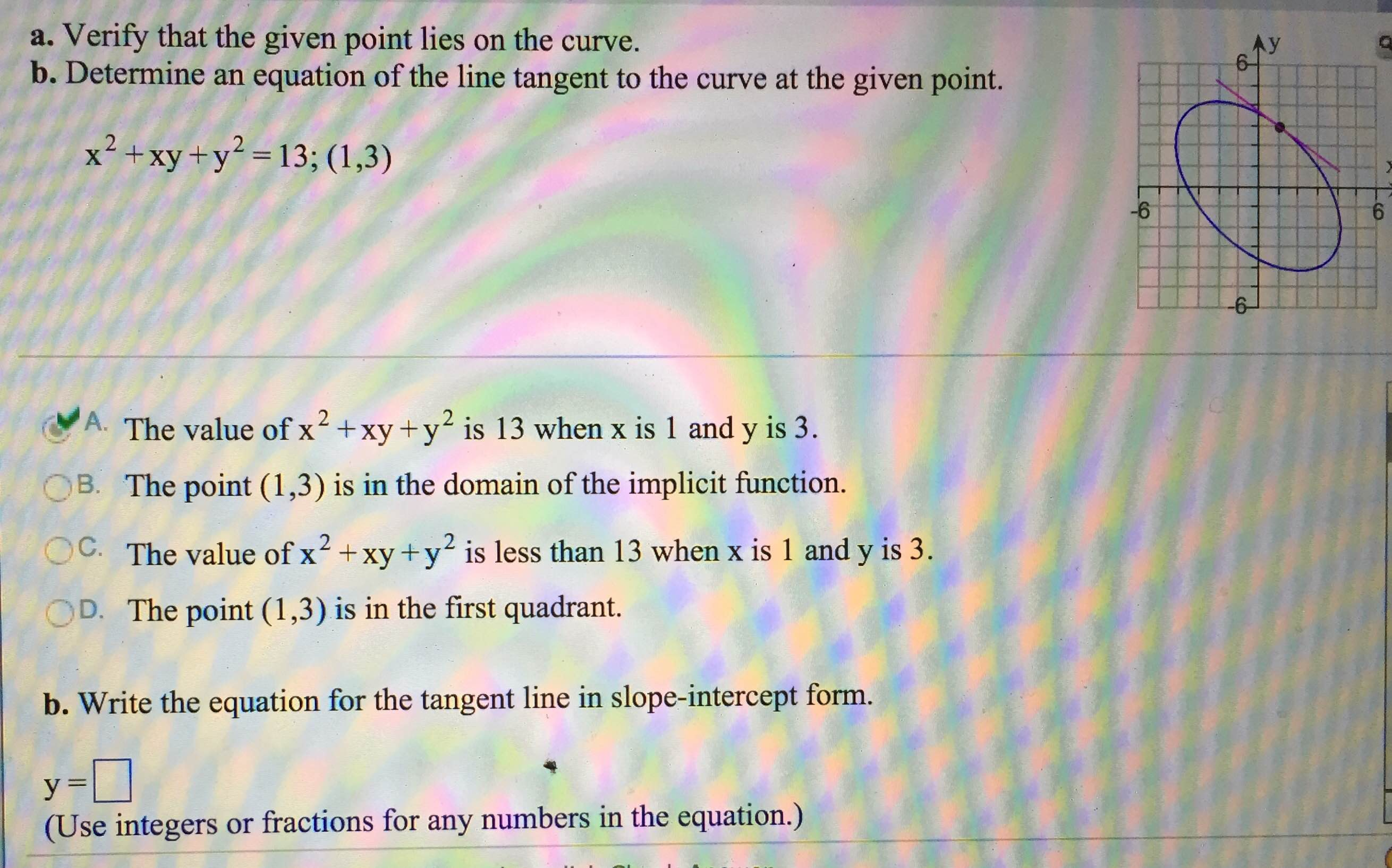 Write an equation for the line in slope intercept form images calculus archive february 08 2016 chegg verify that the given point lies on the curve de falaconquin