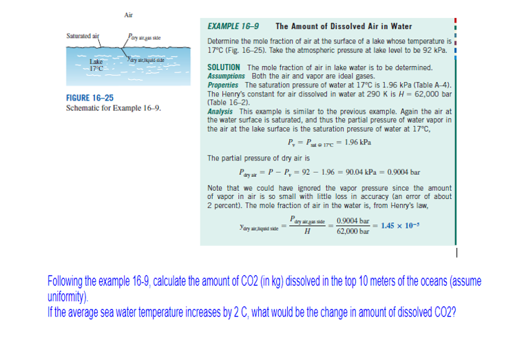 Air EXAMPLE 16-9 The Amount Of Dissolved Air In Wa... | Chegg.com