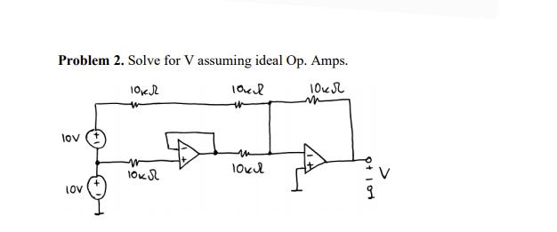 Problem 2. Solve for V assuming ideal Op. Amps. loeR lov oxS LoV