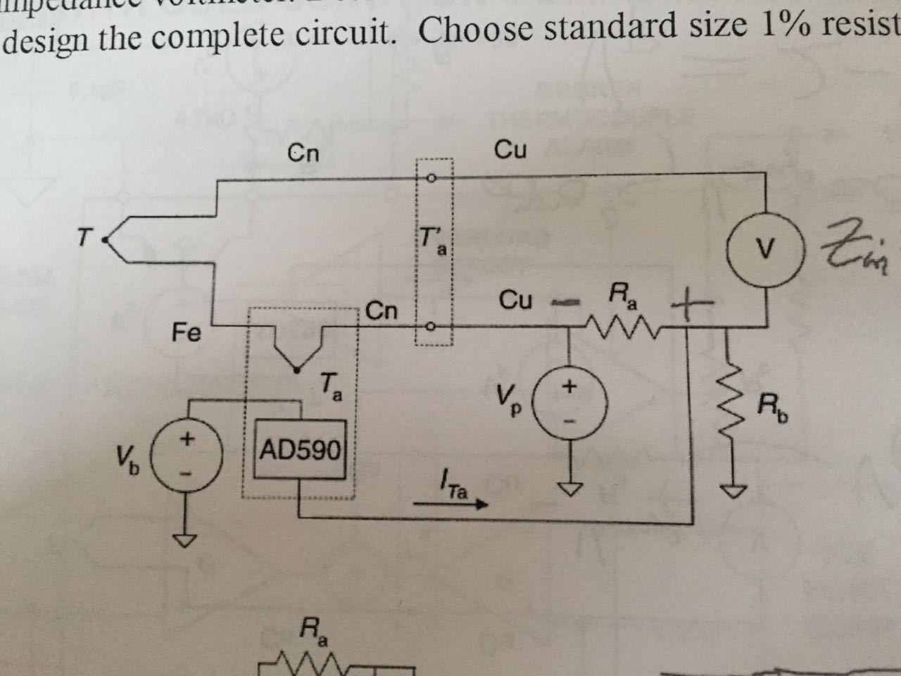 The Figure Below Shows A Cold Junction Compensatio Thermocouple Circuit Determine Condition To Be Fulfilled By Vb Vpra And Rb Design Complete Choose Standard Size 1 Resistors For Your Solution