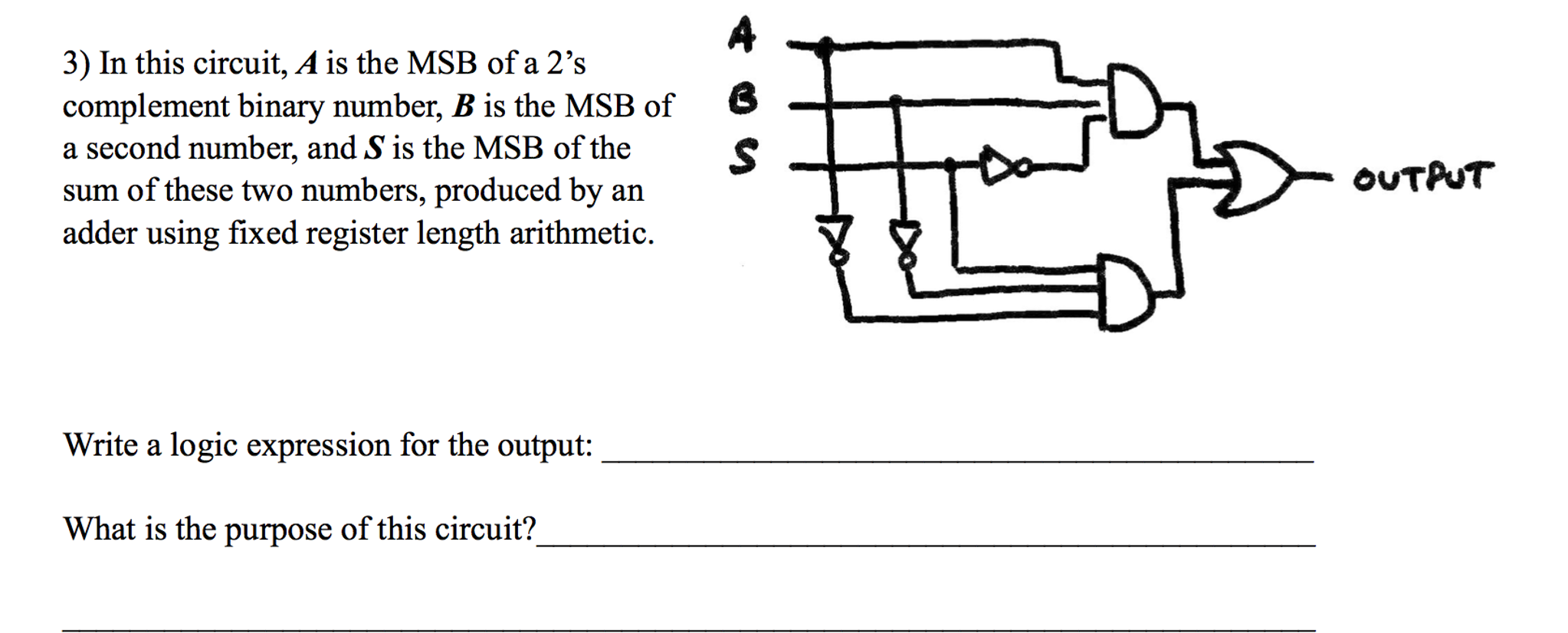 In this circuit, A is the MSB of a 2's complement
