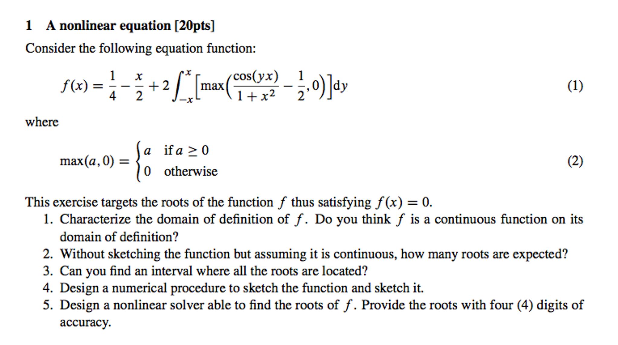 a nonlinear equation consider the following equati   chegg