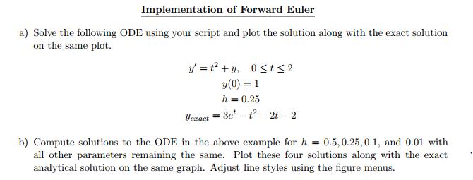 Solved: Implementation Of Forward Euler A) Solve The Follo