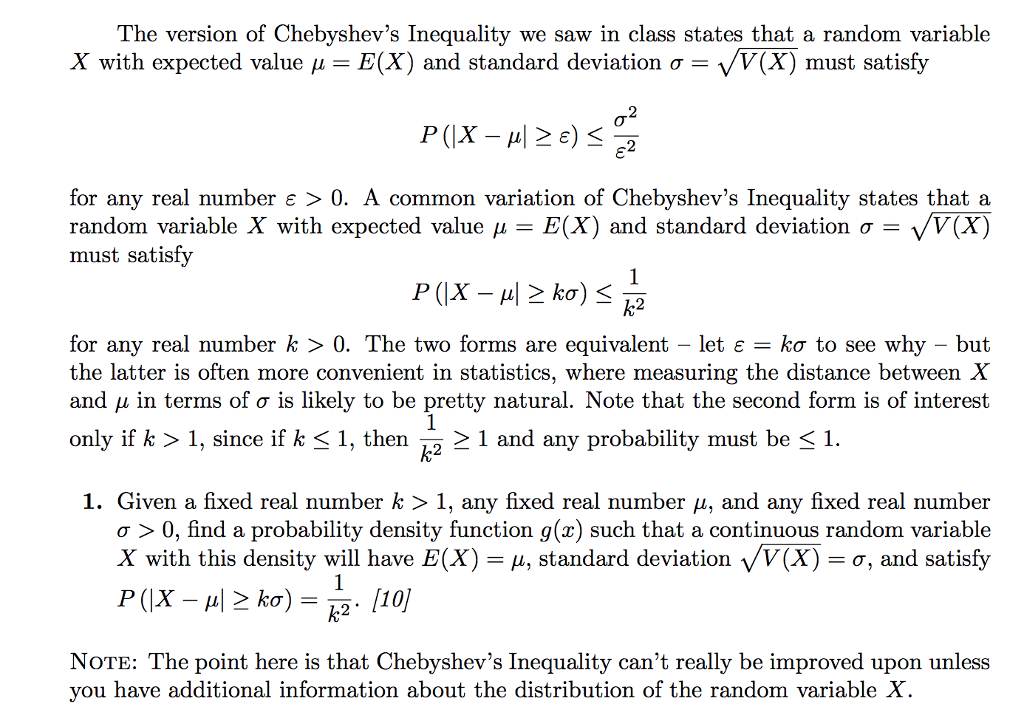 Solved The Version Of Chebyshevs Inequality We Saw In Cl