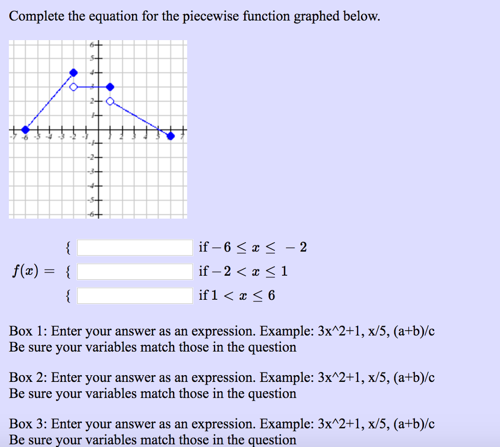solved: complete the equation for the piecewise function g
