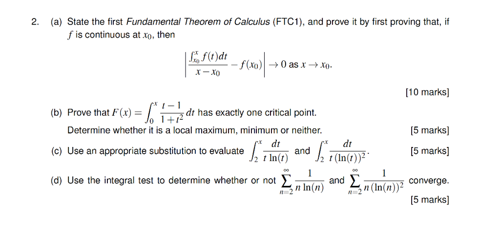 Solved: 2  (a) State The First Fundamental Theorem Of Calc