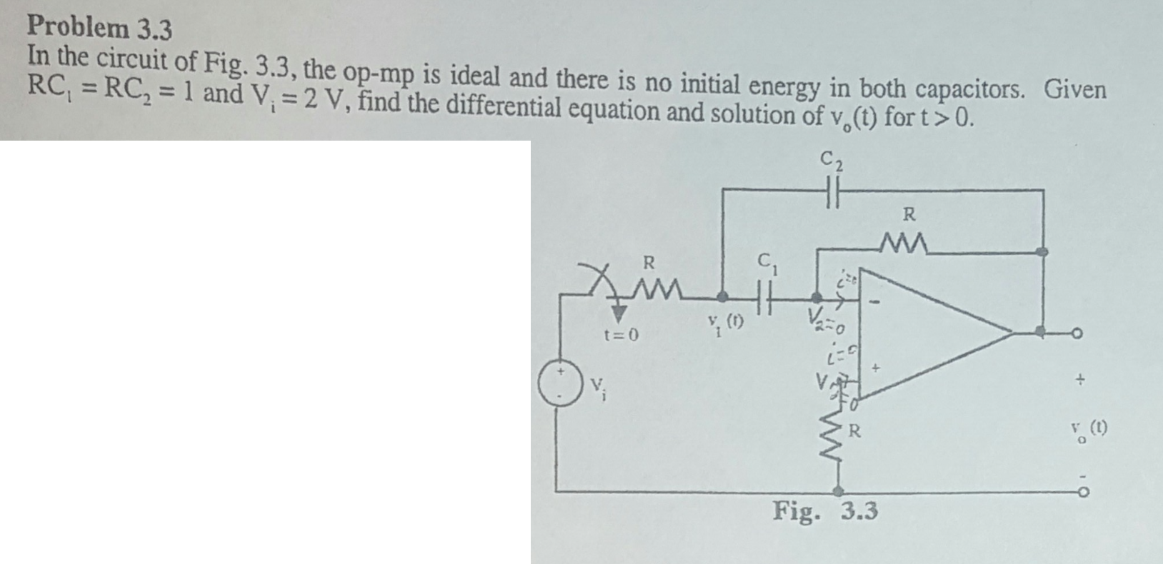 Solved In The Circuit Of Fig 33 Op Mp Is Ideal And On Impedance Rc Series Diagram