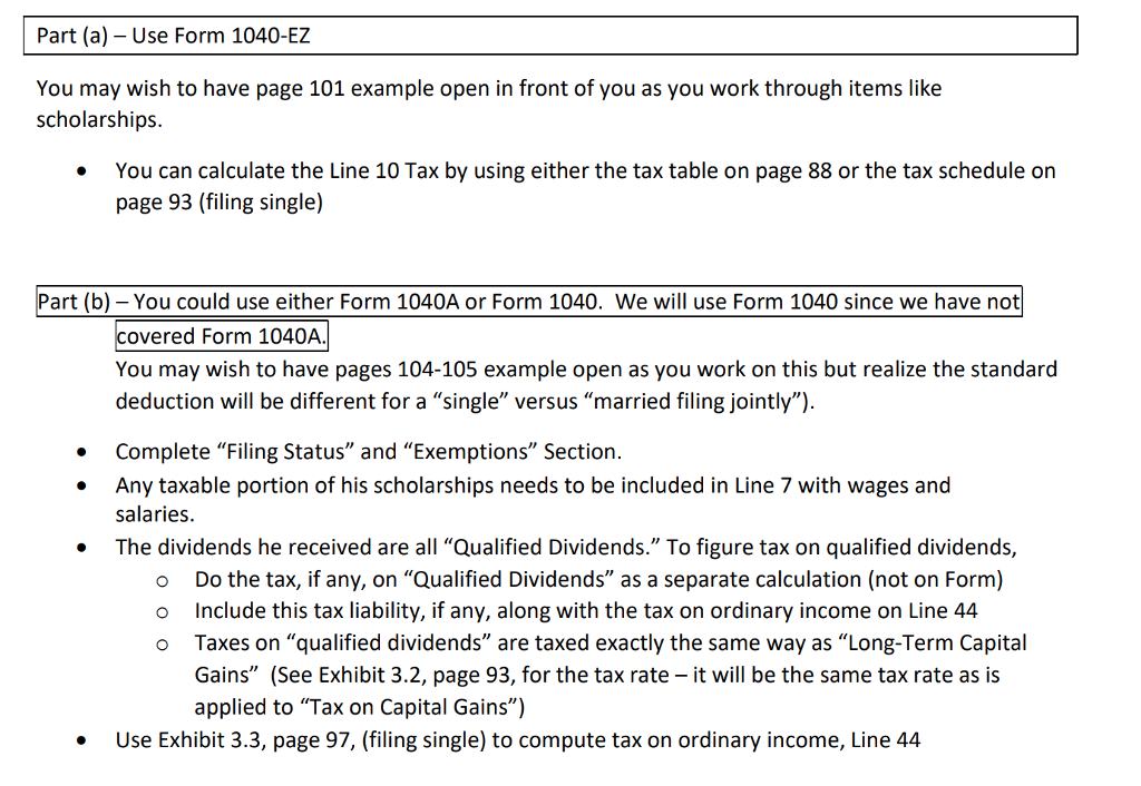 Part A Use Form 1040 Ez You May Wish To Have P Chegg