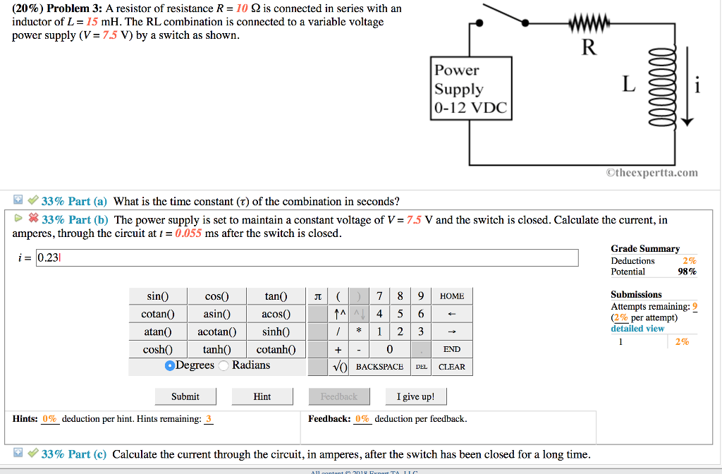 Solved: (20%) Problem 3: A Resistor Of Resistance R = 10