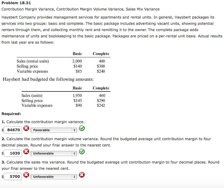 Apartment Rental Management Companies: Solved: Problem 18.31 Contribution Margin Variance, Contri